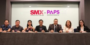 Present during the contract signing of SMX AcademiX + PAPS learning sessions were (from left) Pocholo Gonzales, Jessie Rebustillo, Michelle Lim and Lloyd Luna of Philippine Association of Professional Speakers Inc. (PAPS) and Walid Wafik VP-General Manager, Agnes Pacis VP-Sales & Marketing and Mina Kahn AVP-Sales of SMX Convention Center Manila.